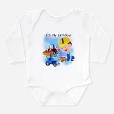 Cute Construction theme birthday Long Sleeve Infant Bodysuit
