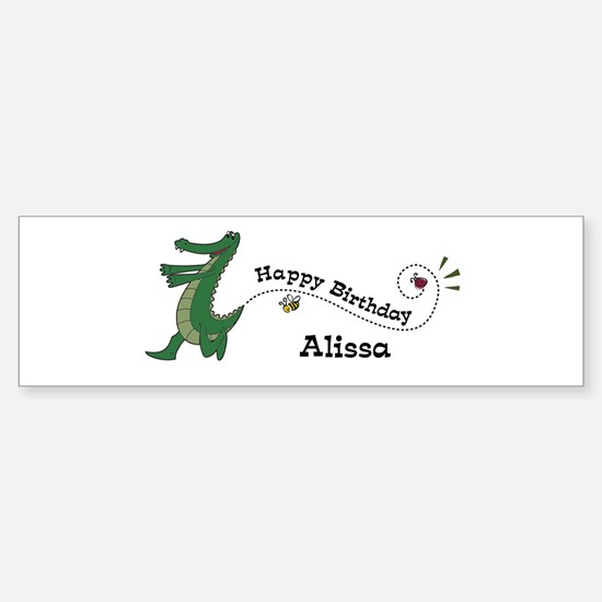 Happy Birthday Alissa (gator) Bumper Car Car Sticker