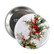 """Holly and berries 2.25"""" Button (100 pack)"""