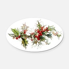 Holly and berries Oval Car Magnet