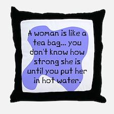 Woman like tea bag Throw Pillow
