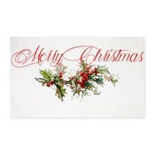 Merry Christmas Holly and berries 3'x5' Area Rug