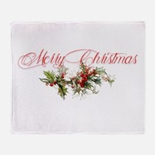 Merry Christmas Holly and berries Throw Blanket