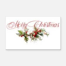 Merry Christmas Holly and ber Rectangle Car Magnet