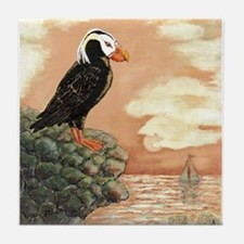 TUFFED PUFFIN at Dusk Tile Coaster