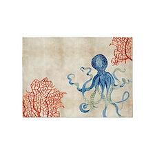Indigo Ocean Coral Octopus n Red Co 5'x7'Area Rug