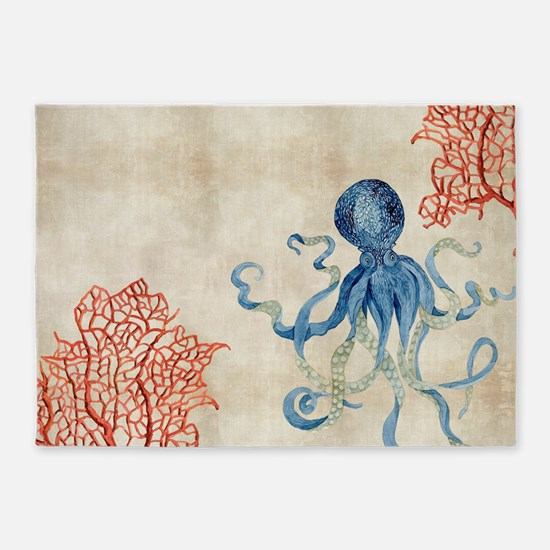 Indigo Ocean Coral Octopus n Red Co 5'x7'Area Rug
