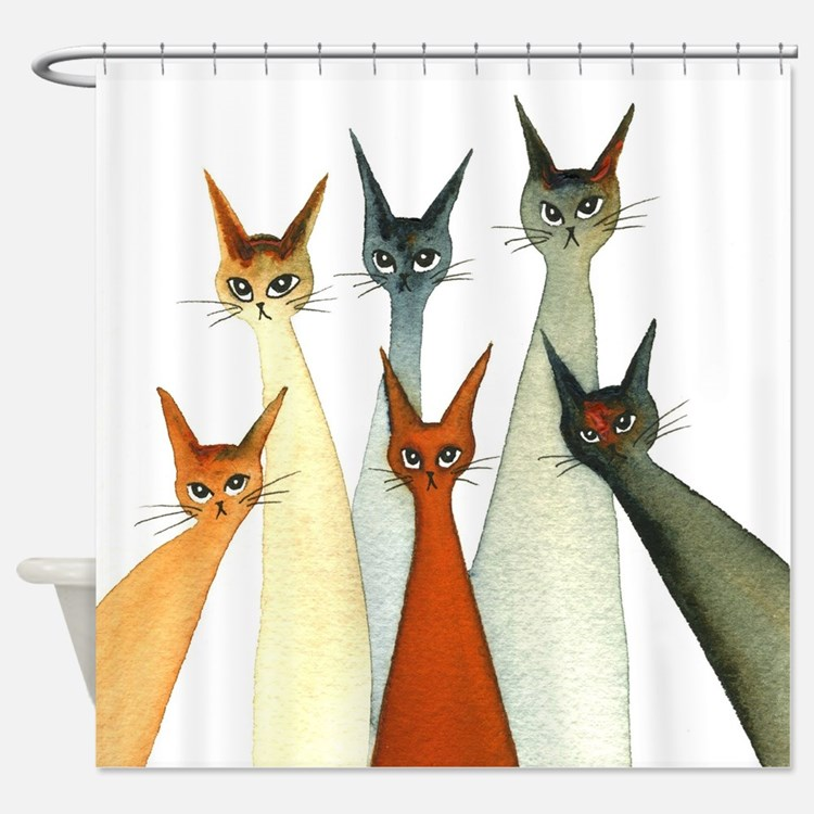 Cat Shower Curtains | Cat Fabric Shower Curtain Liner