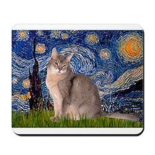 Starry / Blue Abbysinian cat Mousepad