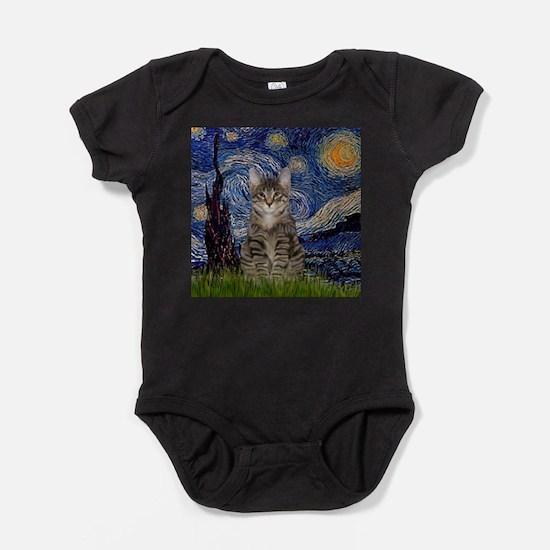 Starry Night & Tiger Cat Baby Bodysuit