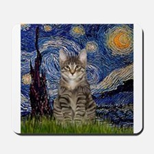 Starry Night & Tiger Cat Mousepad