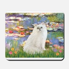 Monet's Lilies & White Persia Mousepad