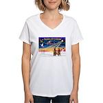 XmasSunrise/2 Airedales Women's V-Neck T-Shirt