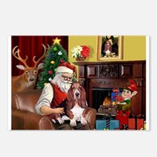Santa's Basset Hound Postcards (Package of 8)
