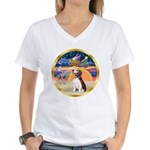 XmasStar/Beagle 2 Women's V-Neck T-Shirt