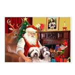 Santa's Beardie pair Postcards (Package of 8)