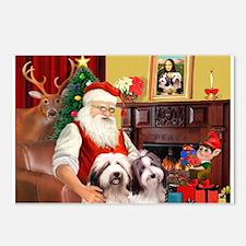 Santa's Beardie pair Postcards (Package of 8)