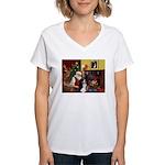 Santa's Home & Bernese Women's V-Neck T-Shirt