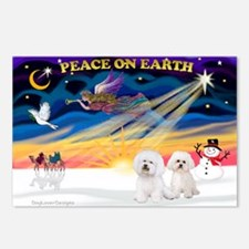 XmasSunrise/2 Bichons Postcards (Package of 8)