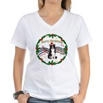 XmasMusic1MC/Border Collie Women's V-Neck T-Shirt