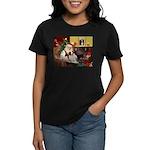 Santa & His Brittany Women's Dark T-Shirt