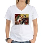 Santa's Bull Mastiff Women's V-Neck T-Shirt