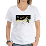 Night Flight/Bull Ter #4 Women's V-Neck T-Shirt
