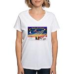 XmasSunrise/5 Cavaliers Women's V-Neck T-Shirt