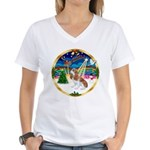 XmasMusic 3/Cavalier F1 Women's V-Neck T-Shirt