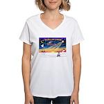 XmasSunrise/Chihuahua #5 Women's V-Neck T-Shirt