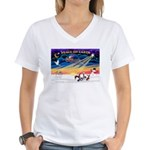 XmasSunrise/4 Cresteds Women's V-Neck T-Shirt