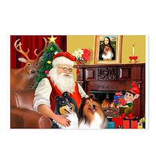 Santa's Collie pair Postcards (Package of 8)