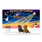 XmasSunrise/2 Dachshunds Postcards (Package of 8)