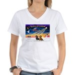 XmasSunrise/2 Dachshunds Women's V-Neck T-Shirt