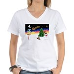 XmasSigns/2 Dachshunds Women's V-Neck T-Shirt