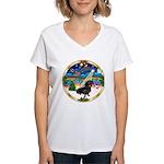 XmasMusic 3/Dachshund 17 Women's V-Neck T-Shirt