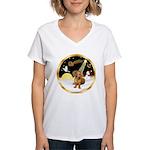 Night Flight/Dachshund #13 Women's V-Neck T-Shirt