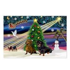 XmasMagic/2 Dachshunds (BB) Postcards (Package of
