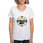 XmasMusic1/2 Dachshunds Women's V-Neck T-Shirt