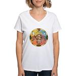 XmasMusic2/Dachshund (WH)#11 Women's V-Neck T-Shir