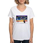 XmasSunrise/Dobbie #1 Women's V-Neck T-Shirt