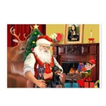 Santa's 2 Dobermans Postcards (Package of 8)