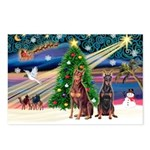 XmasMagic/ 2 Dobies Postcards (Package of 8)