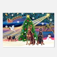 XmasMagic/ 2 Dobies Postcards (Package of 8)