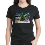 Xmas Magic & Bulldog Women's Dark T-Shirt