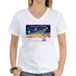 XmasSunrise/Eng Setter Women's V-Neck T-Shirt