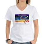 XmasSunrise/Eng Springer Women's V-Neck T-Shirt