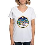 XmasMusic 3/Fr Bulldog #16 Women's V-Neck T-Shirt
