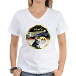 XmasDove/ German Shepherd Women's V-Neck T-Shirt