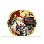 Santa's 2 German Shepherds Postcards (Package of 8